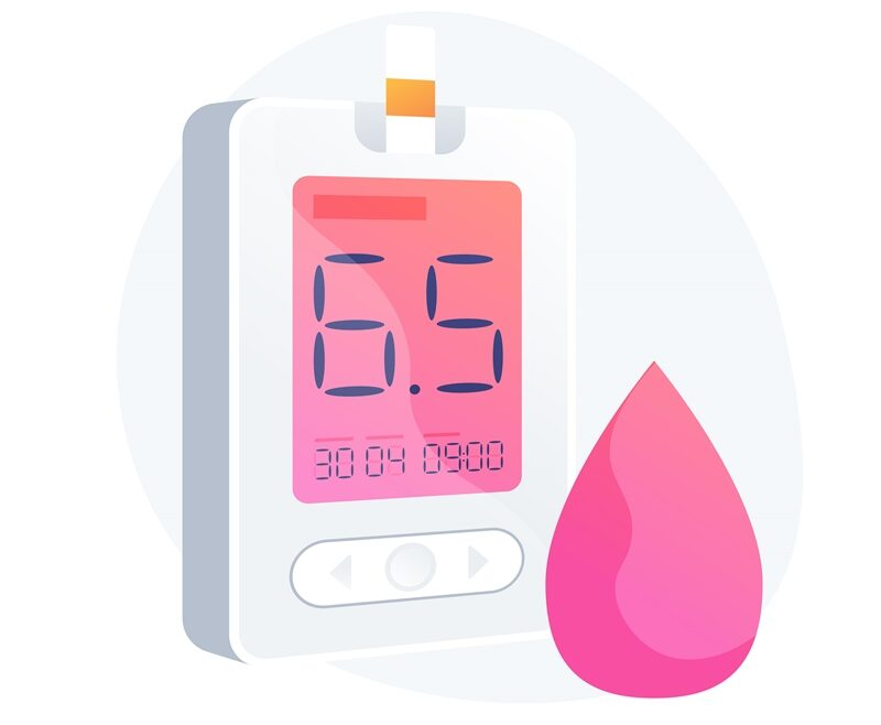 Diabetes mellitus. Blood sugar level measuring tool, medical equipment, diabetology idea design element. Hypoglycemia disease, glycemia diagnosis. Vector isolated concept metaphor illustration